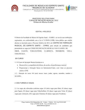 EDITAL DO PROCESSO SELETIVO PARA CURSO DE ... - Fames