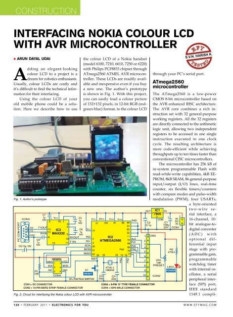 interfAcing nokiA colour lcD With AVr Microcontroller