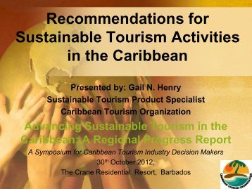 Recommendations for Sustainable Tourism Activities in the Caribbean