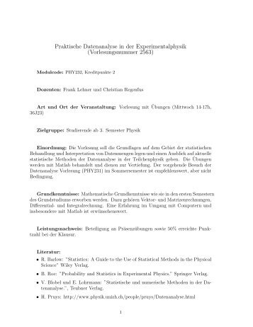 Praktische Datenanalyse in der Experimentalphysik ...