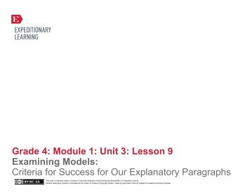 Grade 4 ELA Module 1, Unit 3, Lesson 9 - EngageNY