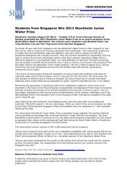 Students from Singapore Win 2012 Stockholm Junior Water Prize
