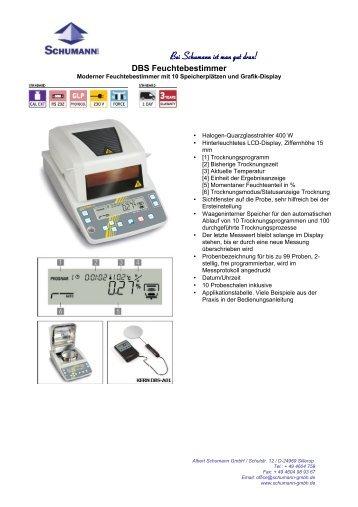 Feuchtebestimmer, DBS Messgeraete - Schumann GmbH