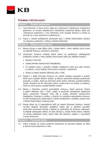 Podmínky k Extra kontu - Komerční banka