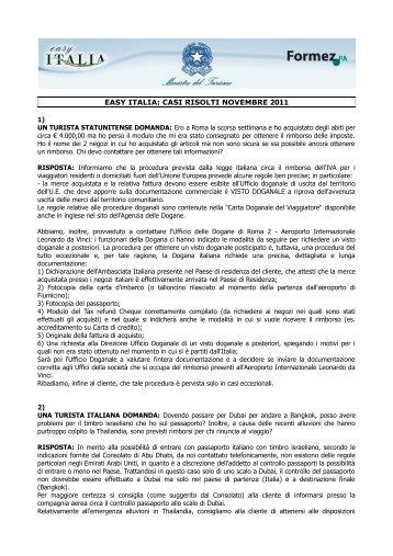 EASY ITALIA: CASI RISOLTI NOVEMBRE 2011