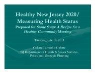 Healthy New Jersey 2020/ Measuring Health Status