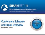 11 Conference Schedule and Track Overview - Sharkfest - Wireshark