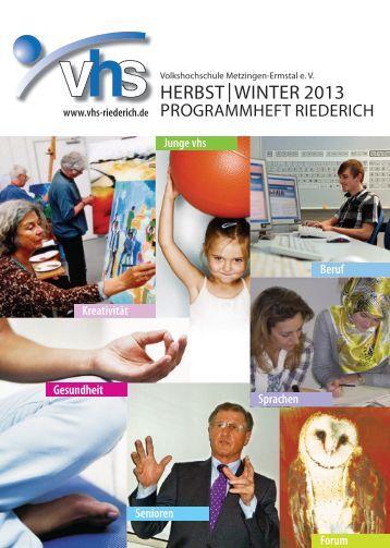 Programmheft Herbst | Winter 2013 dowloaden - VHS in Riederich