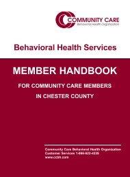 MEMBER HANDBOOK - Community Care Behavioral Health