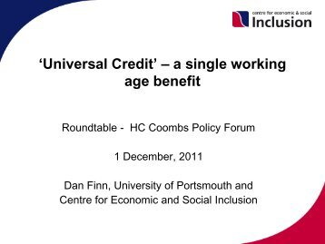 'Universal Credit' – a single working age benefit