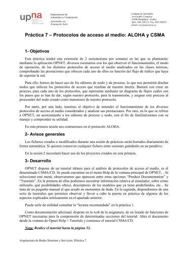 Práctica 7 – Protocolos de acceso al medio: ALOHA y CSMA