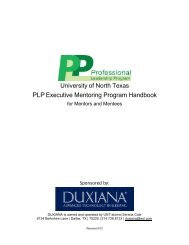 PLP Executive Mentoring Program Handbook - College of Business ...
