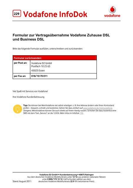 Infodok 229 Formular Zur Vertragsübernahme Vodafone Zuhause