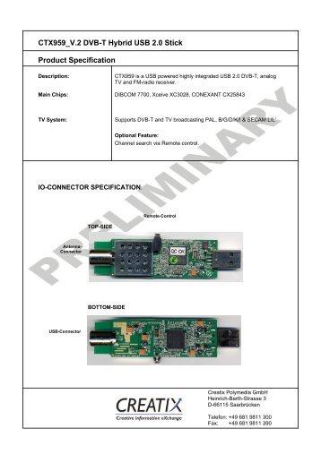 CTX959 V.2 DVB-T Hybrid USB 2.0 Stick Product ... - CREATIX