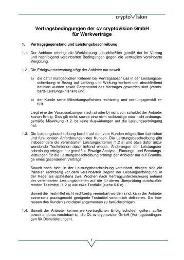 Vertragsbedingungen der cv cryptovision Gmbh für Werkverträge
