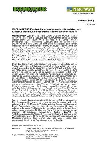 Rheinkultur-Festival bietet umfassendes Umweltkonzept - denkbar