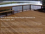 How to Find Best Deck Repair Solutions in Washington, DC?