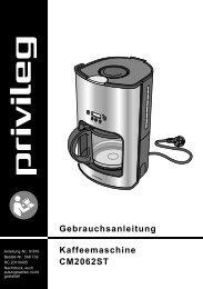 Gebrauchsanleitung Kaffeemaschine CM2062ST - Baur