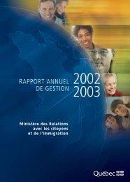 Rapport annuel de gestion 2002-2003 - Secrétariat à la condition ...