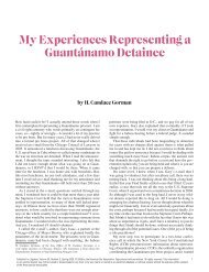 My Experiences Representing a Guantánamo Detainee