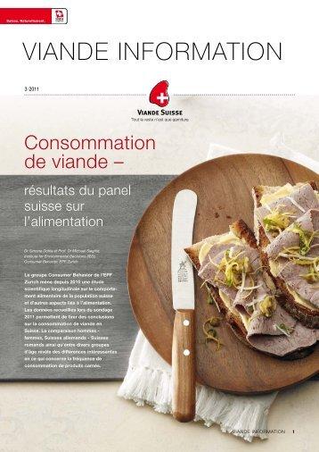 Résultats du panel suisse sur l'alimentation - Schweizer Fleisch