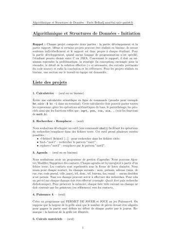 Algorithmique et Structures de Données - Initiation Liste des projets