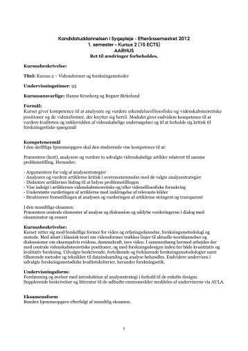 Kandidatuddannelsen i Sygepleje ... - For Studerende