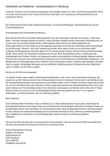 Sicherheit und Notdienst - Schlüsseldienst in Hamburg