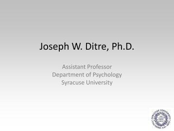 Dr. Ditre's Presentation - VA Mental Health