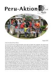August 2010 Liebe Freunde der Peru-Aktion, nun ist seit dem Tod ...
