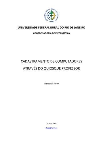 Manual Cadastramento Computadores Quiosque Professor - UFRRJ