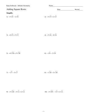 Quadratic Equations Square Roots Kuta Software