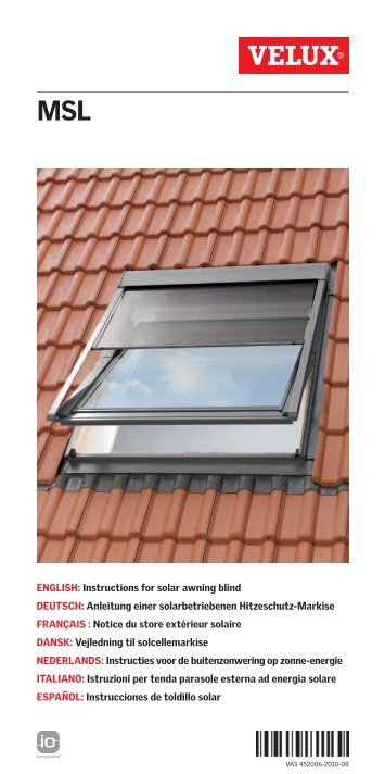 English supplementary instructions for flashing of for Velux solar blinds installation instructions