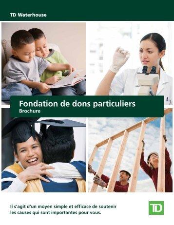 Fondation de dons particuliers - TD Waterhouse