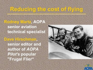 Reducing the cost of flying - Aircraft Owners and Pilots Association