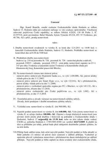 č.j. 007 EX 2272/09 - 48 Usnesení Mgr. Kamil Brančík, soudní ...