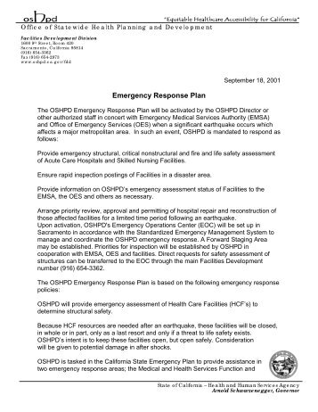 Emergency Response Plan - Office of Statewide Health Planning ...