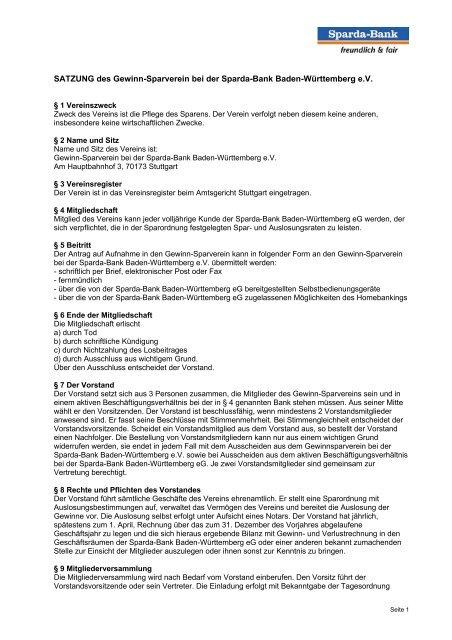 Satzung Des Gewinn Sparverein Bei Der Sparda Bank Baden