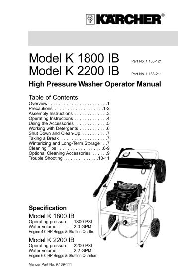 High Pressure Washer Operator Manual - Karcher