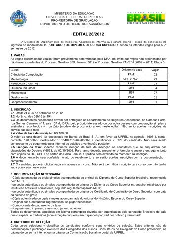 EDITAL 28/2012 - Universidade Federal de Pelotas
