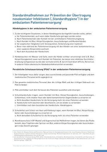 Standardmaßnahmen zur Prävention der Übertragung ... - KVHH
