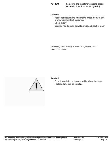 RA 72 12 010 - Removing and installing/replacing ... - Ad Kusters