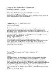 Auszug aus dem Drehbuch fürs Examenessen , Burgruine ...