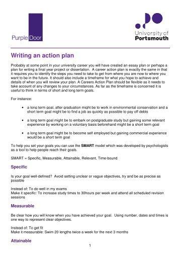 Writing a career action plan