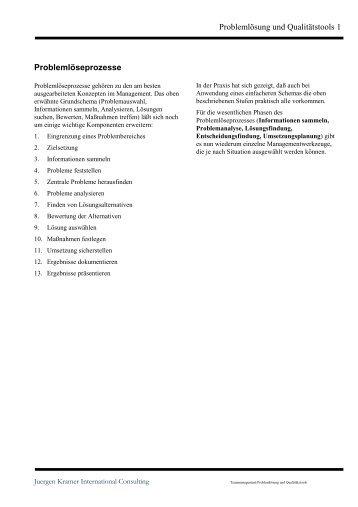 Problemlösung und Qualitätstools - Juergen Kramer, International ...