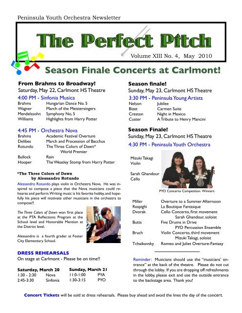 The Perfect Pitch - Peninsula Youth Orchestra