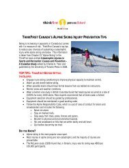 THINKFIRST CANADA'S ALPINE SKIING INJURY PREVENTION TIPS