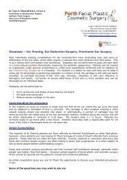 Info & Pricing Brochure - Perth Facial Plastic Cosmetic Surgery