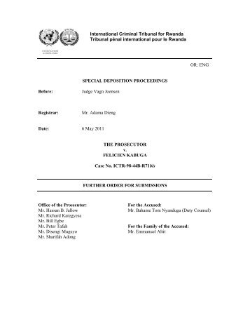 FURTHER ORDER FOR SUBMISSIONS - International Criminal ...