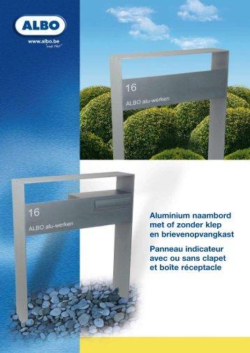 Aluminium naambord met of zonder klep en ... - Albo